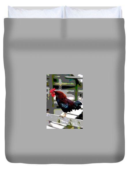 Cock Crowing Duvet Cover by Charles Shoup