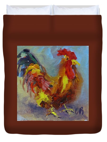 Cock Of The Walk Duvet Cover by Carol Berning