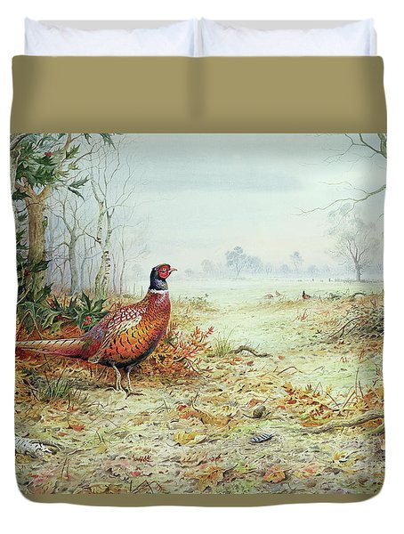 Cock Pheasant  Duvet Cover by Carl Donner