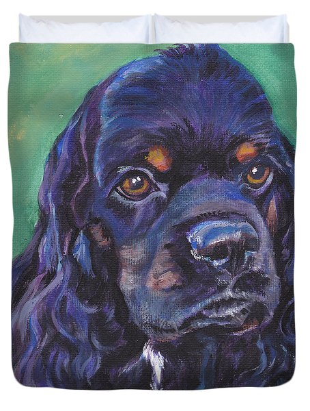 Cocker Spaniel Head Study Duvet Cover by Lee Ann Shepard