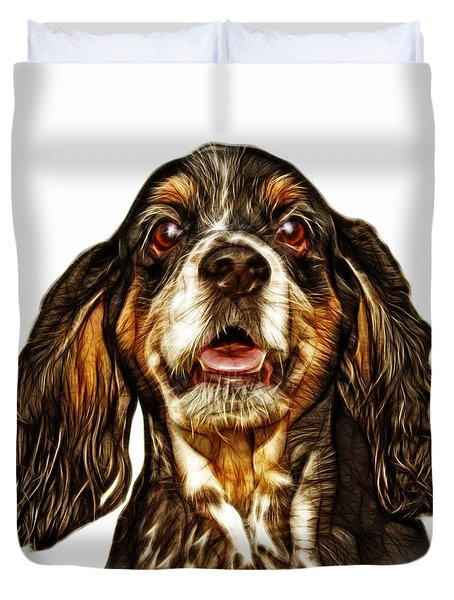Cocker Spaniel Pop Art - 8249 - Wb Duvet Cover by James Ahn