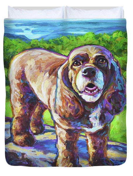 Duvet Cover featuring the painting Cocker Spaniel  by Robert Phelps