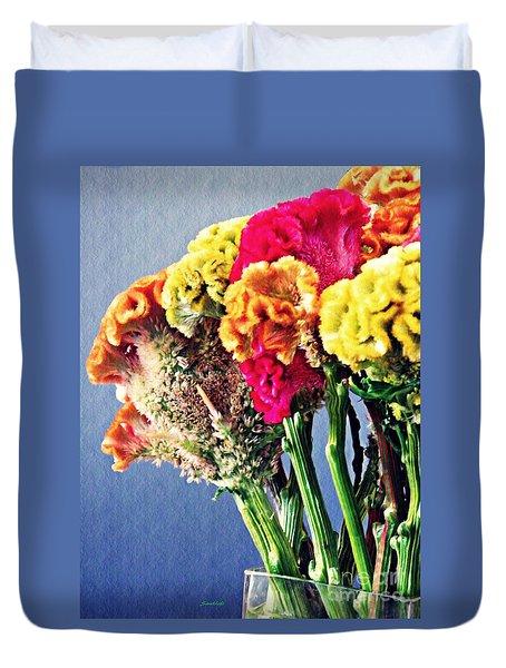 Duvet Cover featuring the photograph Cockscomb Bouquet 2 by Sarah Loft