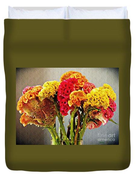 Duvet Cover featuring the photograph Cockscomb Bouquet 3 by Sarah Loft