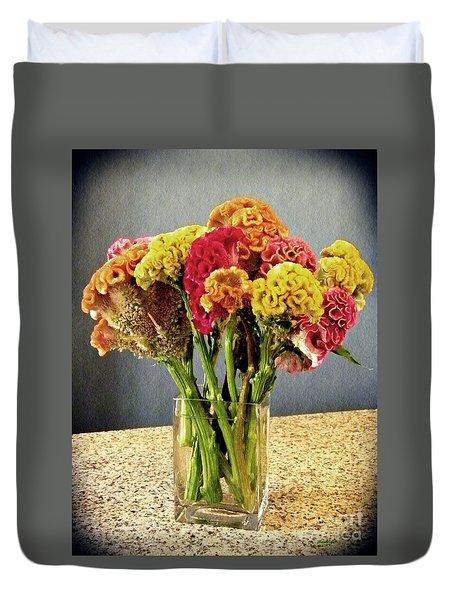 Duvet Cover featuring the photograph Cockscomb Bouquet by Sarah Loft