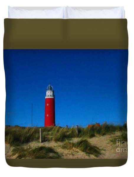 Duvet Cover featuring the photograph Cocksdorp Lighthouse by Mim White