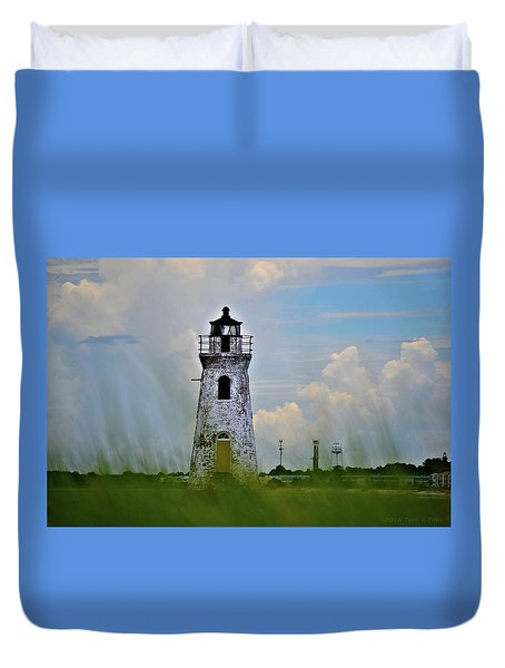 Cockspur Lighthouse Through The Grass Duvet Cover