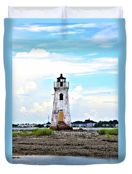 Cockspur Lighthouse Vertical Duvet Cover