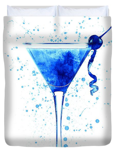 Cocktail Drinks Glass Watercolor Duvet Cover