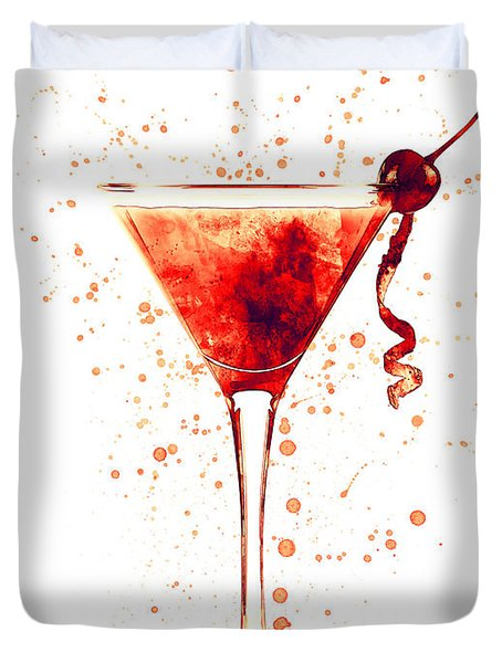 Cocktail Drinks Glass Watercolor Red Duvet Cover