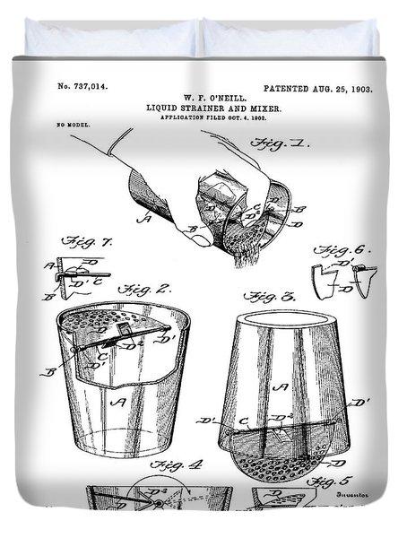 Cocktail Mixer Patent 1903  Duvet Cover