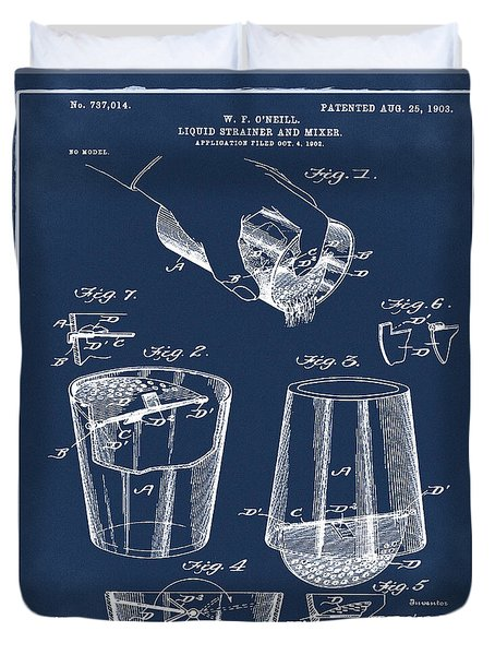 Cocktail Mixer Patent 1903 In Blue Duvet Cover