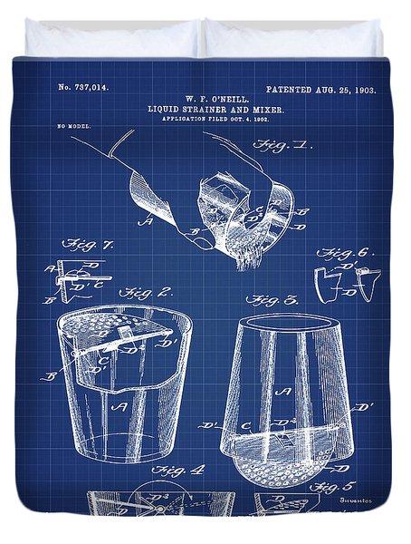 Cocktail Mixer Patent 1903 In Blueprint Duvet Cover
