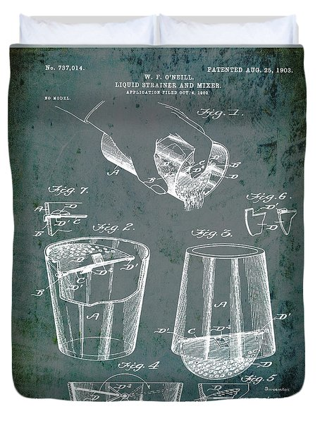 Cocktail Mixer Patent 1903 In Dirty Glass Duvet Cover
