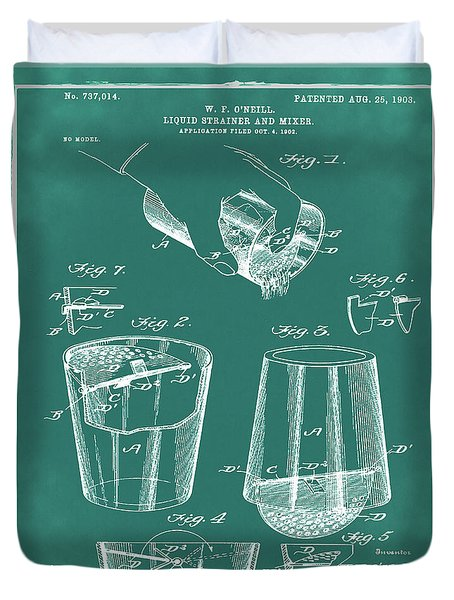 Cocktail Mixer Patent 1903 In Green Duvet Cover