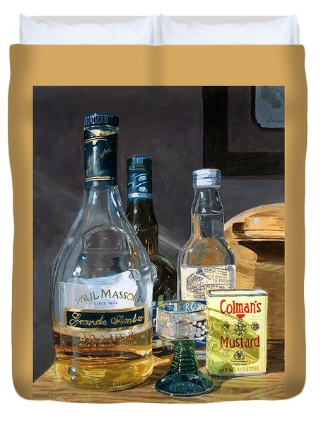 Duvet Cover featuring the painting Cocktails And Mustard by Lynne Reichhart