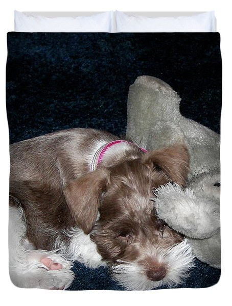 Duvet Cover featuring the photograph Coco And Baby by Carol  Bradley