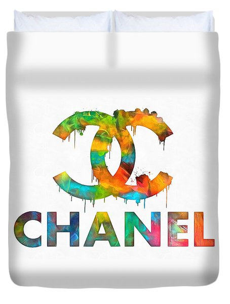 Coco Chanel Paint Splatter Color Duvet Cover by Dan Sproul