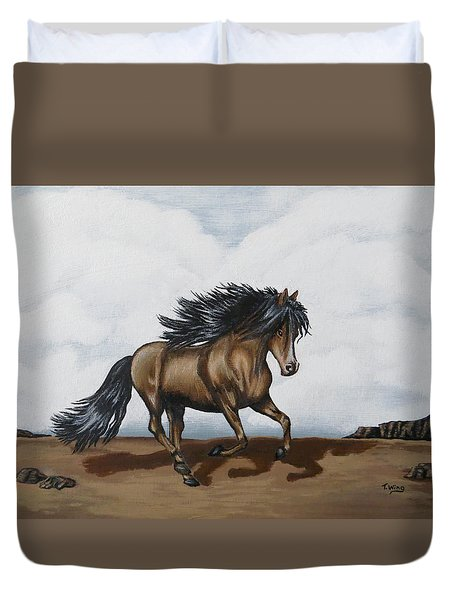 Duvet Cover featuring the painting Coco by Teresa Wing