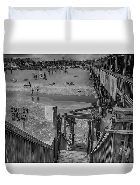 Cocoa Beach Pier Duvet Cover by Pat Cook