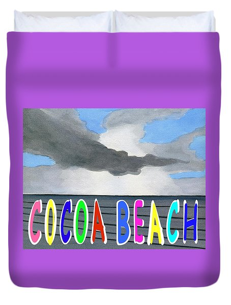 Cocoa Beach Poster T-shirt Duvet Cover by Dick Sauer