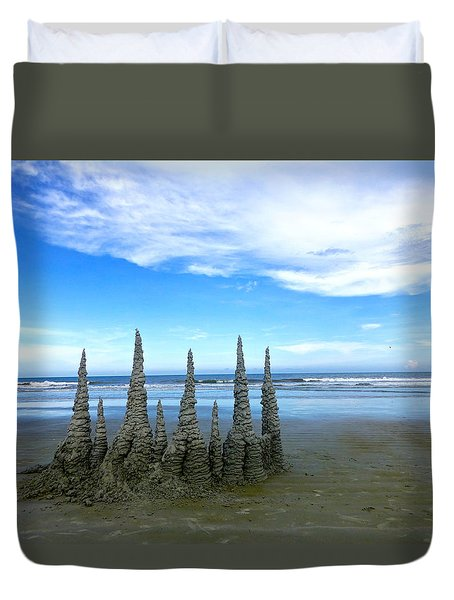 Cocoa Beach Sandcastles Duvet Cover by Amelia Racca