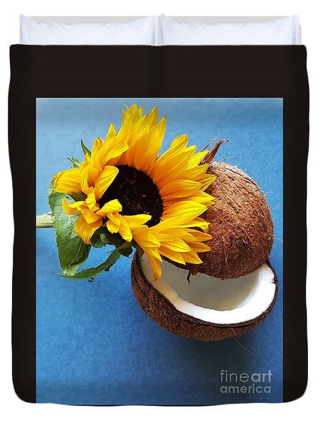 Coconut And Sunflower Harmony Duvet Cover