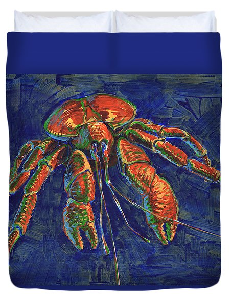 Duvet Cover featuring the painting Coconut Crab by Judith Kunzle