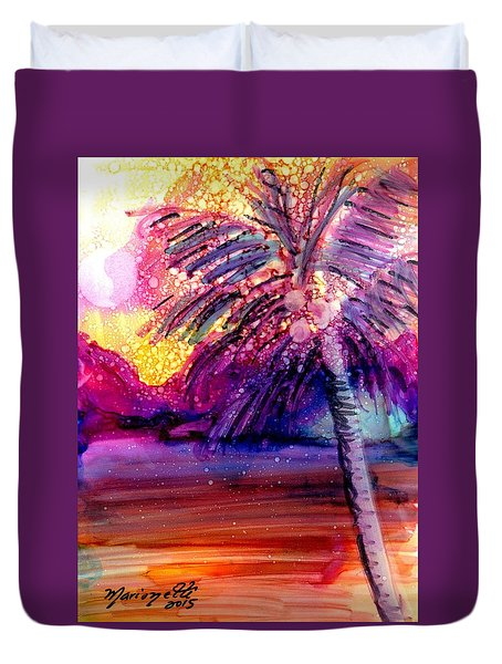 Duvet Cover featuring the painting Coconut Palm Tree 2 by Marionette Taboniar