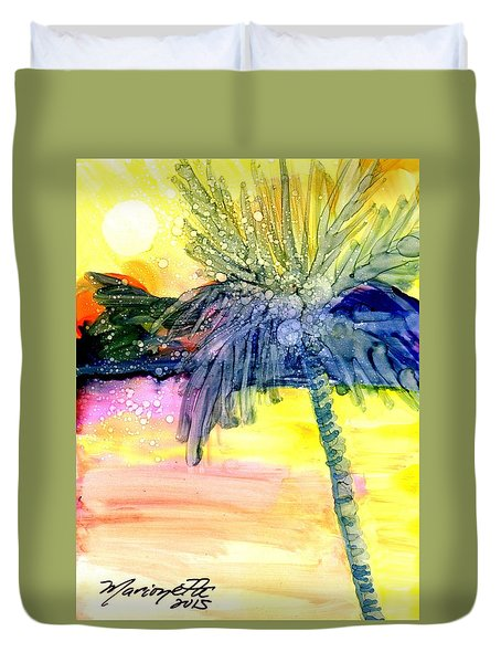 Duvet Cover featuring the painting Coconut Palm Tree 3 by Marionette Taboniar