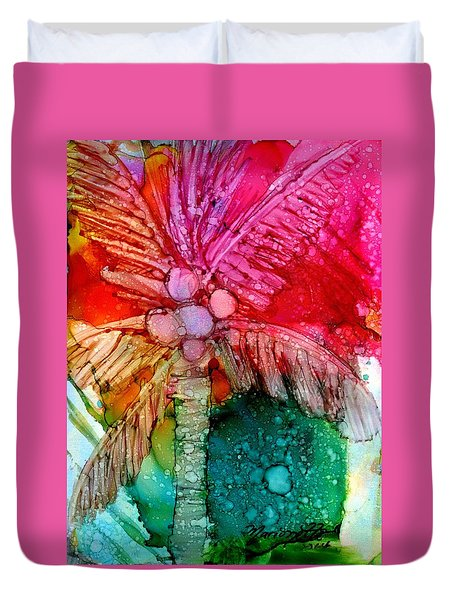 Coconut Palm Tree Duvet Cover by Marionette Taboniar