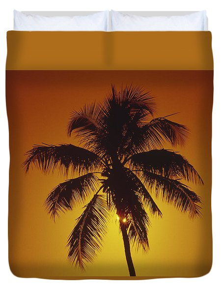 Coconut Palm Tree Sunset Duvet Cover
