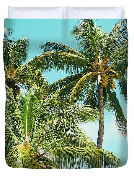 Coconut Palm Trees Sugar Beach Kihei Maui Hawaii Duvet Cover by Sharon Mau