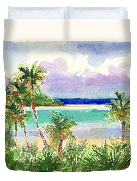 Duvet Cover featuring the painting Coconut Palms And Lagoon, Aitutaki by Judith Kunzle