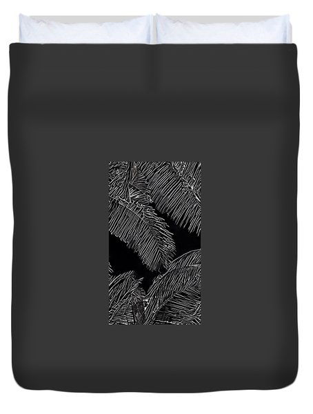 Coconut Palms In Black And White Duvet Cover