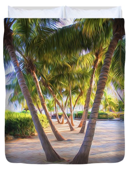 Coconut Palms Inn Beachfront Duvet Cover