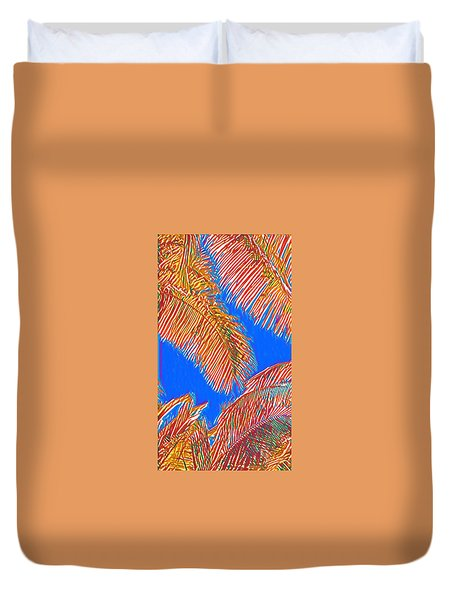 Coconut Palms In Red And Blue Duvet Cover