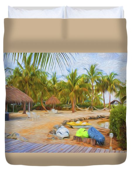 Coconut Palms Inn Beach Duvet Cover