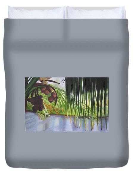 Duvet Cover featuring the painting Coconut Tree by Teresa Beyer