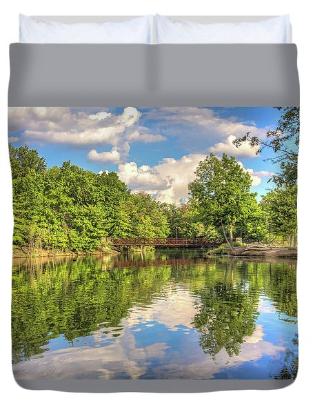 Duvet Cover featuring the photograph Coe Lake by Brent Durken