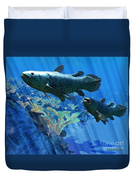 Coelacanth Fish Duvet Cover by Corey Ford