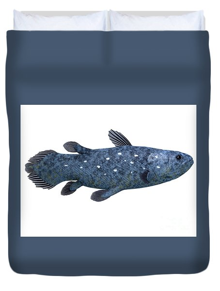 Coelacanth Fish On White Duvet Cover by Corey Ford