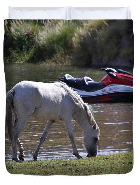 Coexistence Salt River Wild Horses Tonto National Forest Number Two Jet Ski Duvet Cover