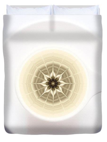 Duvet Cover featuring the digital art Coffe Foam Mandala by Klara Acel