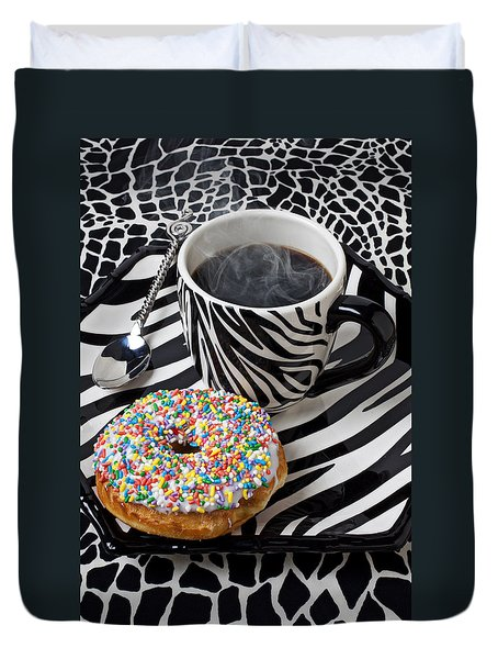 Coffee And Donut On Striped Plate Duvet Cover by Garry Gay