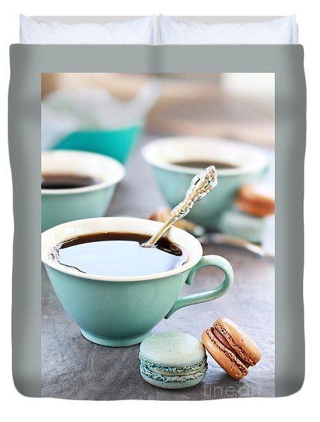 Coffee And Macarons Duvet Cover
