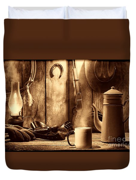 Coffee At The Cabin Duvet Cover