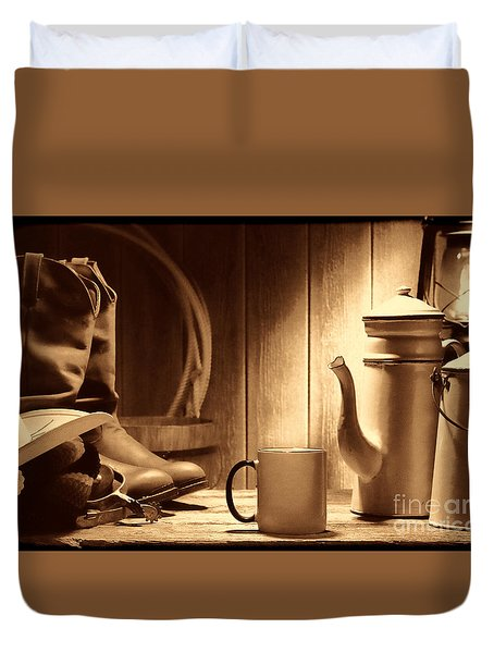Coffee At The Ranch Duvet Cover