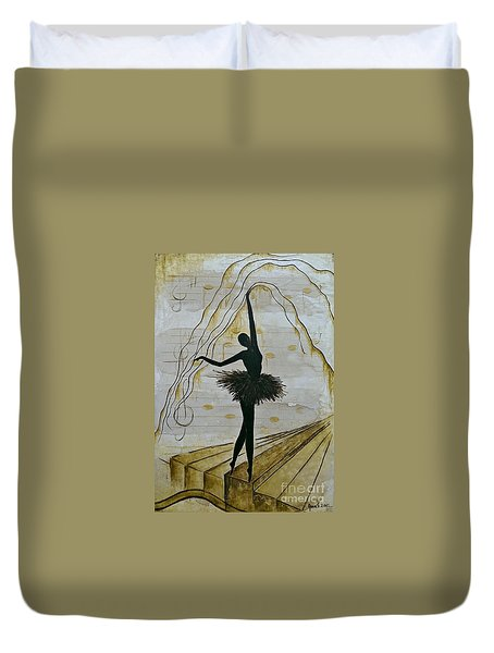 Coffee Ballerina Duvet Cover by AmaS Art
