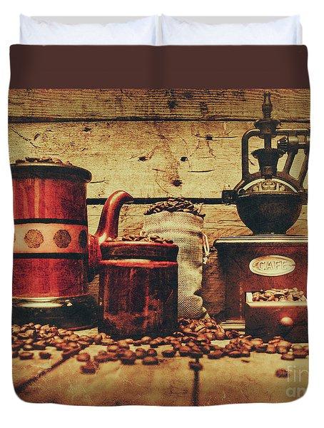 Coffee Bean Grinder Beside Old Pot Duvet Cover